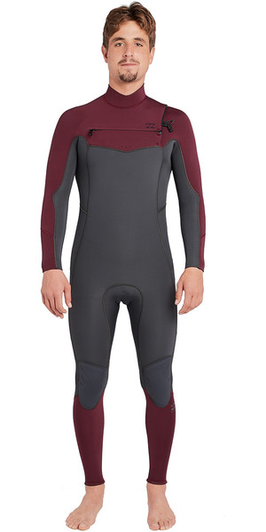 2018 Billabong Fornalha Absolute 4 / 3mm Peito Zip Wetsuit Ameixa Escura L44M09