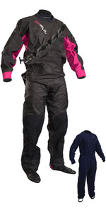 2020 Gul Kvinders Dartmouth Drysuit + Underfleece Sort / Pink Gm0383-b5