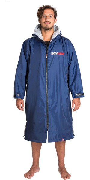 2018 Dryrobe Advance - Long Sleeve Premium Outdoor Change Robe DR104 Navy / GREY