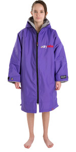2021 Dryrobe Advance Junior Manga Longa Premium Outdoor Change Robe / Poncho Dr104 - Roxo / Cinza