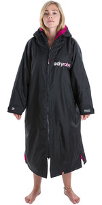 2020 Dryrobe Advance Long Sleeve Premium Outdoor Change Robe / Poncho DR104 - Black / Pink
