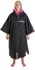 2019 Dryrobe Advance Short Sleeve Premium Outdoor Change Robe / Poncho DR100 Black / Pink