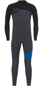 2018 Quiksilver Boys Syncro 3/2mm Chest Zip Wetsuit Graphite / Deep Cyanine EQBW103019