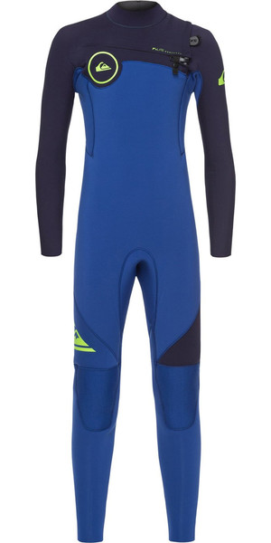 2018 Quiksilver Boys Syncro 3/2mm Chest Zip Wetsuit Nite Blue / Blue Ribbon EQBW103019