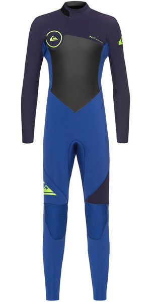 2018 Quiksilver Toddler Boys Syncro 4 / 3mm Zip posteriore Muta Nite Blue / Blue Ribbon EQKW103000