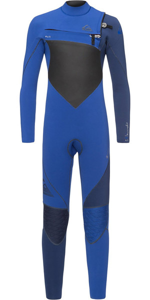 2018 Quiksilver Boys Highline Plus 4 / 3mm Bryst Zip Wetsuit Nite Blue EQBW103037