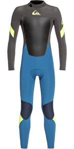 2019 Quiksilver Junior Boys Syncro 4/3mm Back Zip Wetsuit Marina / Jet Black EQBW103052