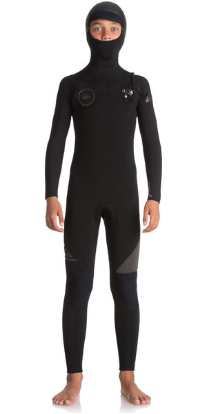 2018 Quiksilver Boys Syncro 5/4/3mm Hooded Chest Zip Wetsuit Black / Jet Black EQBW203001