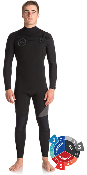 2019 Quiksilver Syncro 3 / 2mm Chest Zip Wetsuit Jet Negro EQYW103038