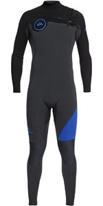 2019 Quiksilver Syncro 3/2mm Chest Zip Wetsuit Graphite / Zwart / Deep Cyannine Eqyw103038