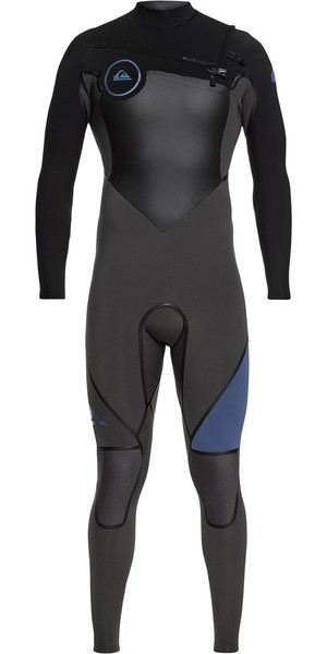 2018 Quiksilver Syncro + 5/4 / 3mm Chest Zip Wetsuit Negro / Cascade Blue EQYW103046