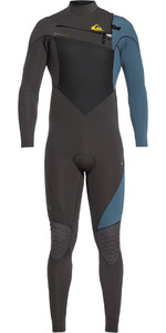 2019 Highline Quiksilver Plus 3/2mm Chest Zip Wetsuit Jet Black / Aço Azul Eqyw103060