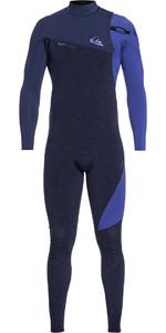 2019 Quiksilver Highline 3/2mm Zíper Wetsuit Navy Heather Eqyw103062