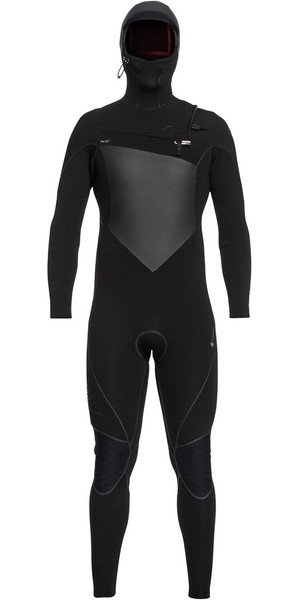 2018 Quiksilver Highline Plus 6/5 / 4mm Hooded Borst Zip Wetsuit Zwart EQYW203010