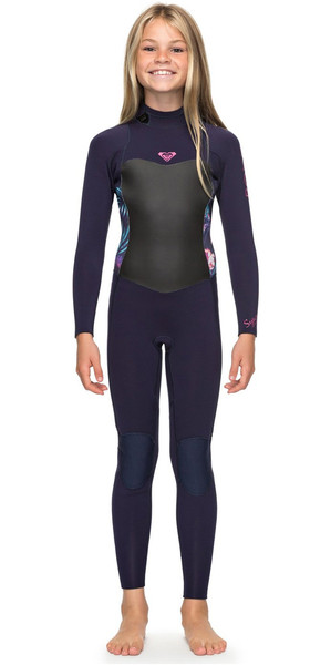 2018 Roxy Girls Syncro 4 / 3mm Tilbage Zip Wetsuit Blue Ribbon ERGW103016