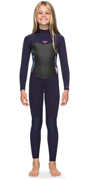 2018 Roxy Girls Syncro 4 / 3mm back Zip Wetsuit blauw lint ERGW103016
