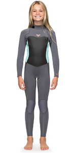 2018 Roxy Girls Syncro 3 / 2mm Traje de neopreno con cremallera Deep Grey / Glacier Blue ERGW103013
