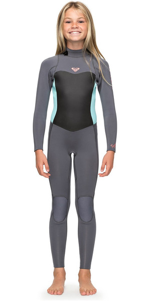 2018 Roxy Girls Syncro 3 / 2mm Tilbage Zip Wetsuit Deep Gray / Glacier Blue ERGW103013