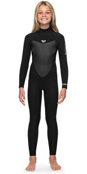 2018 Roxy Girls Prologue 4 / 3mm Zip posteriore Muta nera ERGW103022