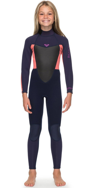 2018 Roxy Girls Prologue 4 / 3mm Dos Zip Combinaison Bleu Ruban / Flamme Corail ERGW103022