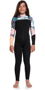 2019 Roxy Meisje 3/2mm Pop Surf Front Zip Wetsuit Zwart Ergw103029