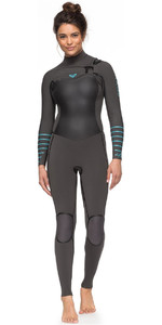 2018 Roxy Womens Syncro+ 4/3mm Chest Zip Wetsuit Jet Black / Heather Blue ERJW103030