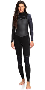 2020 Roxy Syncro Plus 4/3mm Chest Zip LFS Wetsuit Preto / Gunmetal Erjw103030