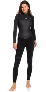 2020 Roxy Dames Performance 4/3mm Wetsuit Met Chest Zip Zwart ERJW103032