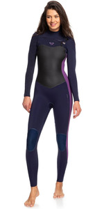2019 Roxy Dames Performance 4/3mm Wetsuit Met Chest Zip Diep Indigo / Donker Violet ERJW103032