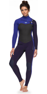 2018 Roxy Womens Performance 4/3mm Chest Zip Wetsuit Blue Ribbon / Purple ERJW103032