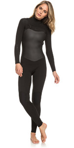 2020 Roxy Dames Satijncapsule 3/2mm Wetsuit Met Chest Zip Zwart ERJW103037