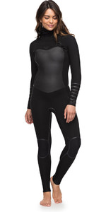 Roxy Womens Syncro Plus 5/4/3mm Hooded Chest Zip Wetsuit Black ERJW203002