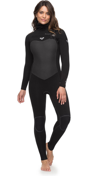 2018 Roxy Womens Performance 5/4/3mm Hooded Chest Zip Wetsuit Black ERJW203003