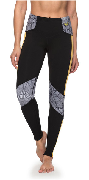 2018 Roxy Popsurf 1mm Scalop Capri Surf Leggings Nero ERJWH03012