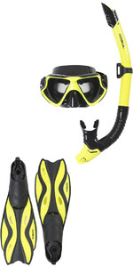 2019 Gul Tarpon ADULT Mask / Snorkel & FIN Set in Yellow / Black GD0003