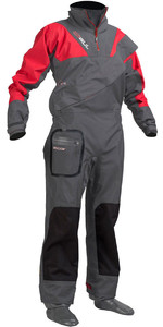 2018 Gul Shadow Junior Drysuit Zip Drysuit Charcoal / Red GM0351-A8