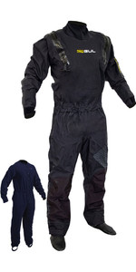 2019 Gul Junior Kode Zero Stretch U-Zip Drysuit Sort GM0368-B5 INKLUSIVE UNDERFLEECE
