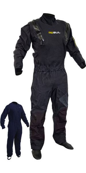2019 Gul kode Zero Stretch U-Zip Drysuit Sort GM0368-B5 INKLUSIVE UNDERFLEECE