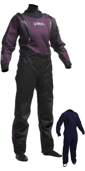 2018 Gul Womens Code Zero U-ZIP Drysuit Black / Plum GM0373-A8 INCLUDING UNDERFLEECE