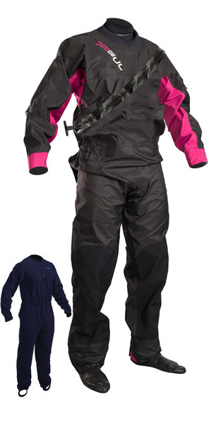 2019 GUL Womens Dartmouth Drysuit Black / Pink GM0383-B5 WITH UNDERFLEECE