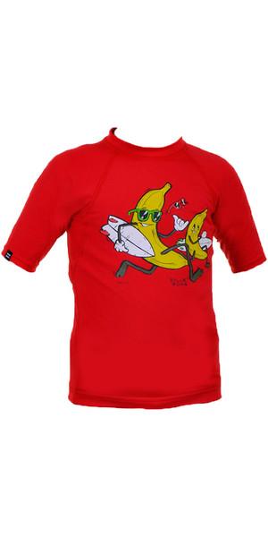 Billabong Go Bananas Short Sleeved Rash Vest in RED P4KY10