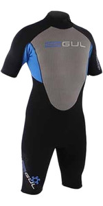 Gul Response Mens 3/2mm Shorty Wetsuit in Black / Silver / Cyan RE3319
