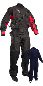 2019 Gul Junior Dartmouth Eclip Zip Drysuit & Free Underfleece Negro / Rojo Gm0378-b5