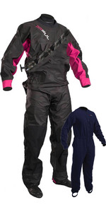 2021 Gul Damen Dartmouth Eclip Zip Drysuit Inkl. Unterfleece Schwarz / Pink Gm0383-b5