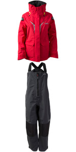 2019 Gill OS3 Womens Coastal Veste OS31JW & OS3 Womens Coastal Trousers OS31TW COMBI SET LUMIÈRE ROUGE / GRAPHITE