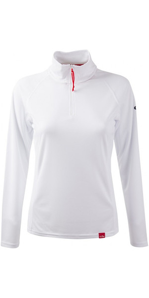 2018 Gill Damen UV Tec Zip Neck Top in ARCTIC WHITE UV003W