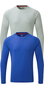 Gill Mens Long Sleeve UV Tec Tee Twin Pack Blue & Grey