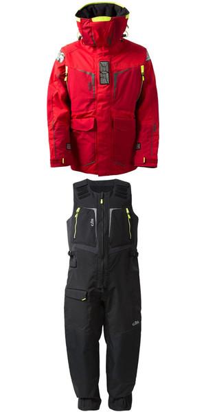 2019 Gill Hommes OS1 Offshore Ocean Jacket OS12J et Pantalon OS12T Combi Set en ROUGE / graphite