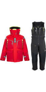 2020 Gill Mens OS1 Offshore Ocean Jacket & Trouser Combi Set - Red / Graphite