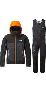 2020 Gill Mens Race Fusion Jacket & Salopette Combi Set - Black